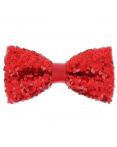 Cravate Paillette Rouge - Cravate Strass Soirée