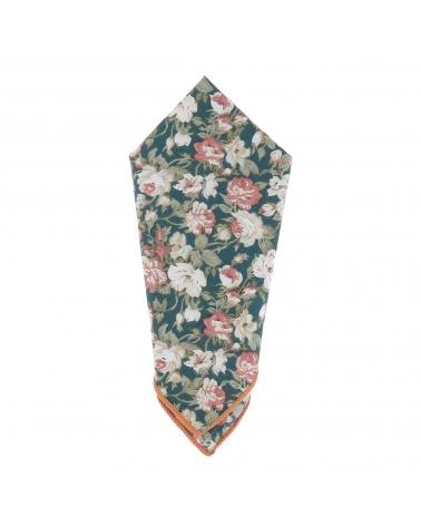 Pochette Costume Fleurs Bleu canard et Rose
