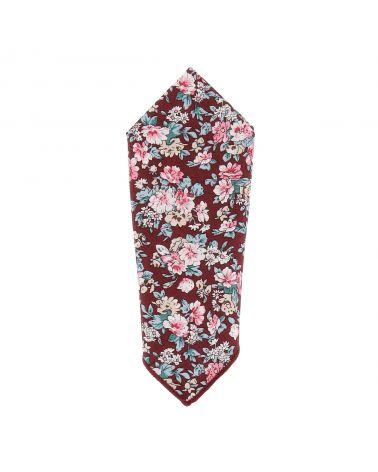 Pochette Costume Fleurs Bordeaux et Rose