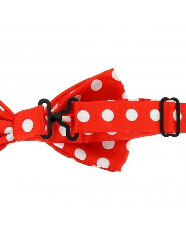 Noeud Papillon à Pois Rouge et Blanc (gros pois)
