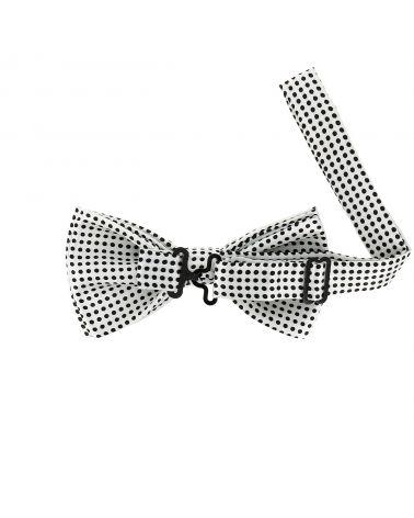 Noeud Papillon à Pois Blanc et Noir (pois fins)
