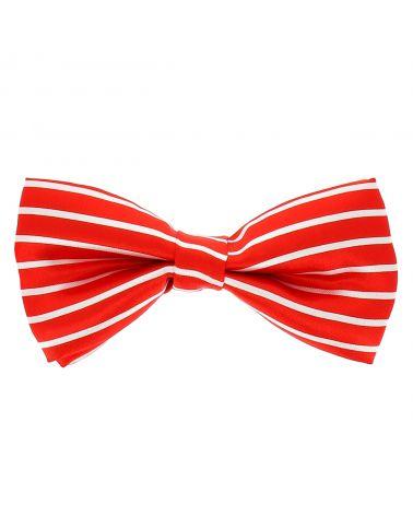 Noeud Papillon Rayé Rouge et Blanc Rayures Horizontales