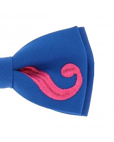 Noeud Papillon Moustache Bleu et Rose