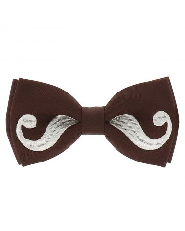 Noeud Papillon Moustache Marron et Gris