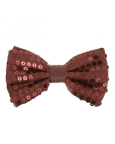 Noeud Papillon Paillette Marron
