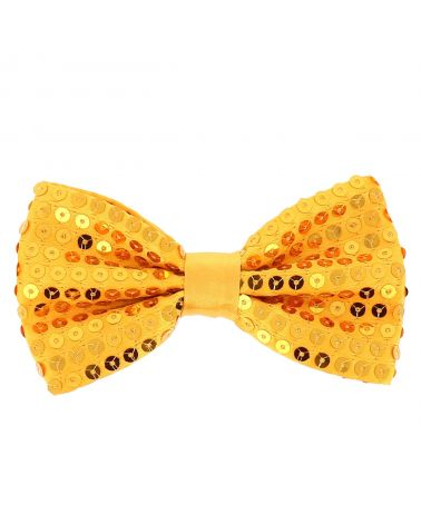 Noeud Papillon Paillette Jaune Orange