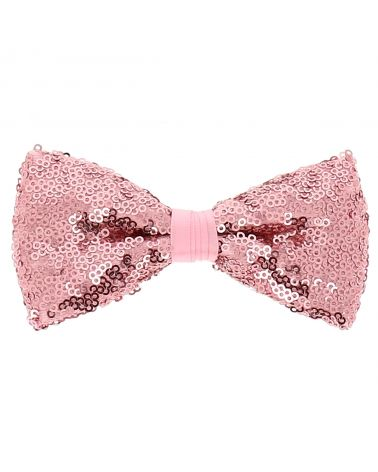 Noeud Papillon Rose Sequins