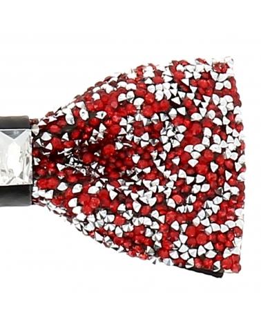 Noeud Papillon Strass Rouge et Argent