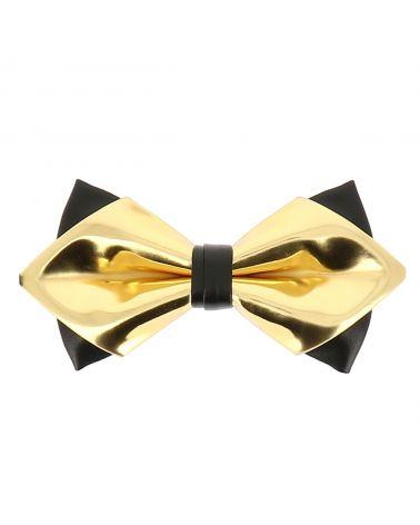 Noeud Papillon Doré et Noir Double Simili cuir