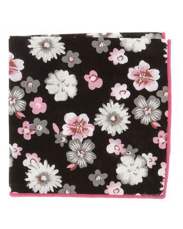 Pochette Costume Fleurs Noire Grise et Rose