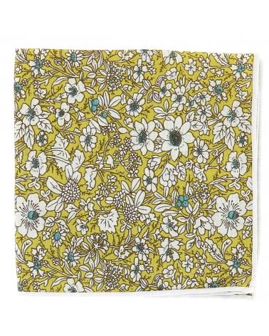 Pochette Costume Fleurs Jaune et Blanche