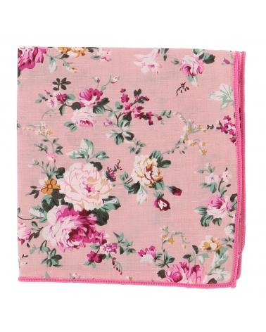 Pochette Costume Fleurs Rose