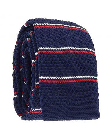 Cravate Tricot Rayée Bleu marine et Rouge