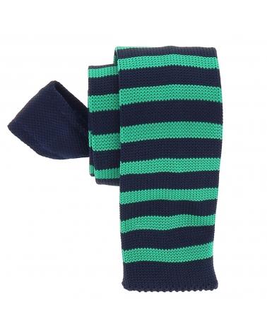 Cravate Tricot Rayée Bleu marine et Verte