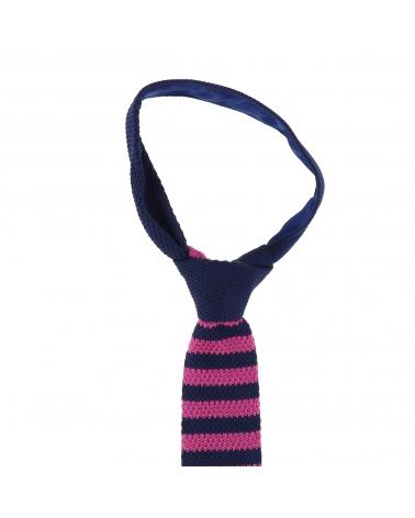 Cravate Tricot Rayée Bleu marine et Fushia