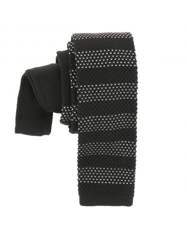 Cravate Tricot Rayée Noire