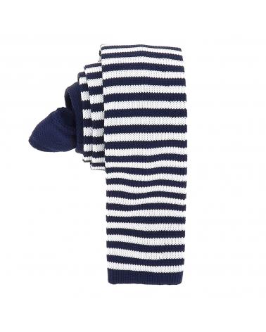 Cravate Tricot Rayée Bleu marine et Blanche