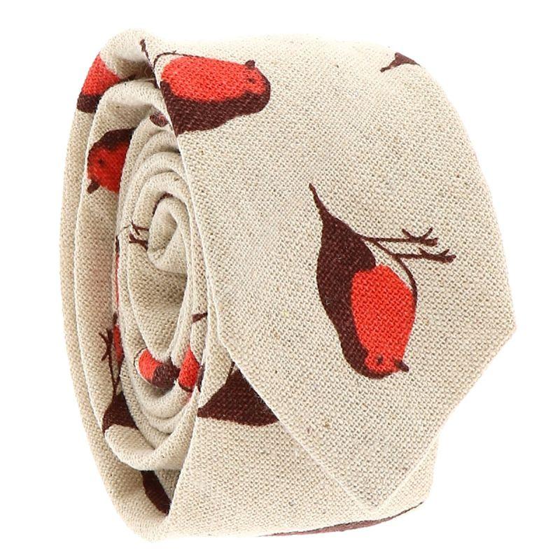Cravate Coton Beige Oiseaux