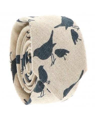Cravate Coton Beige Oiseaux Bleus