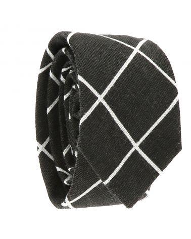 Cravate Coton Noir Carreaux