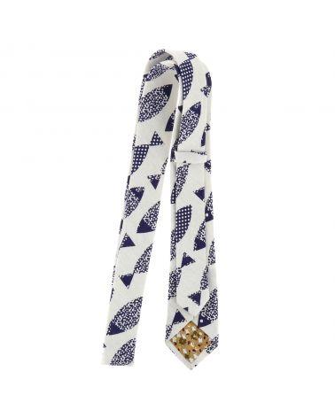 Cravate Coton Blanche Poissons