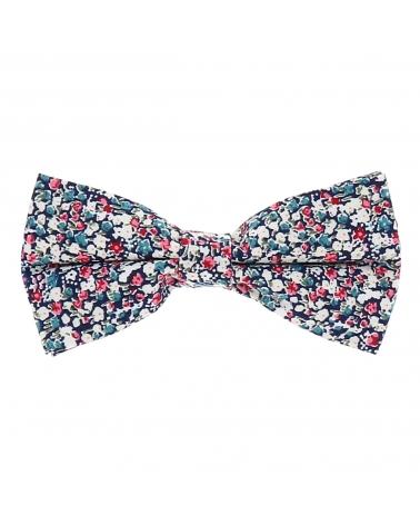 Noeud Papillon Liberty Bleu marine Rose et Blanc