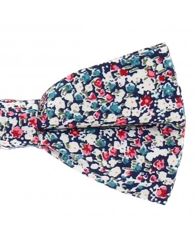 Noeud Papillon Champêtre Motif Liberty Bleu Navy Rose et Blanc