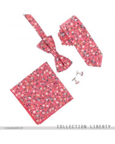 Assortiment Noeud Papillon Cravate Pochette Costume et Boutons de Manchette Liberty Corail
