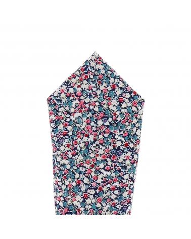 Pochette Costume Liberty Bleu marine Rose et Blanc