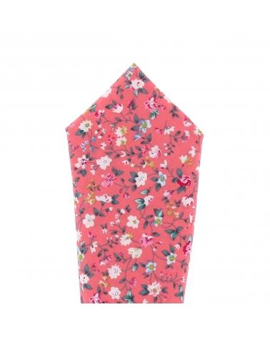 Pochette Costume Corail à Fleurs