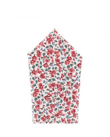 Pochette Costume Liberty Blanc et Corail