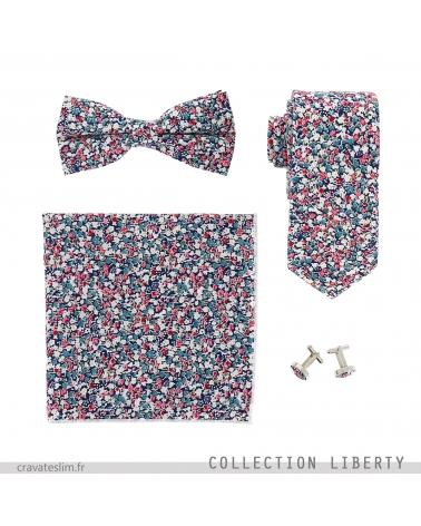 Assortiment Noeud Papillon Cravate Pochette Costume et Boutons de Manchette Liberty Bleu marine Rose et Blanc