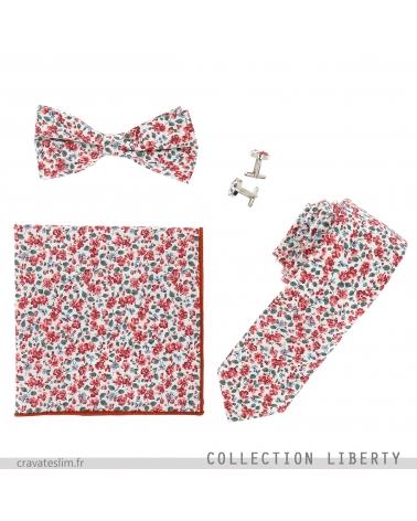Assortiment Noeud Papillon Cravate Pochette Costume et Boutons de Manchette Liberty Corail et Blanc