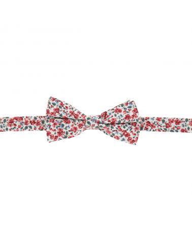 Noeud Papillon Champêtre Motif Liberty Rose Corail et Blanc