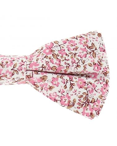 Noeud Papillon Champêtre Motif Liberty Rose Nude et Blanc