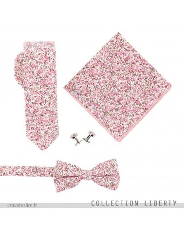 Assortiment Noeud Papillon Cravate Pochette Costume et Boutons de Manchette Liberty Vieux Rose et Blanc