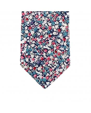 Cravate Garçon Liberty Bleu marine Rose et Blanc