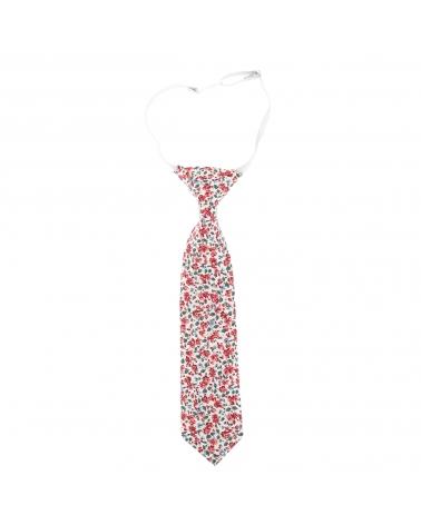 Cravate Garçon Liberty Blanc et Corail