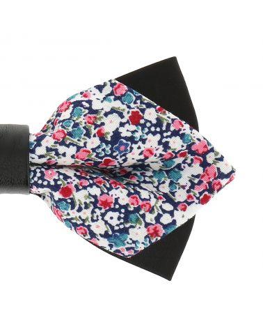 Noeud Papillon Pointu Liberty Bleu marine Rose et Blanc