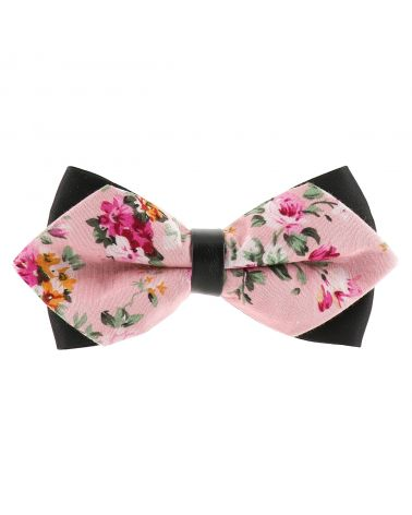 Noeud Papillon Pointu Fleuri Rose