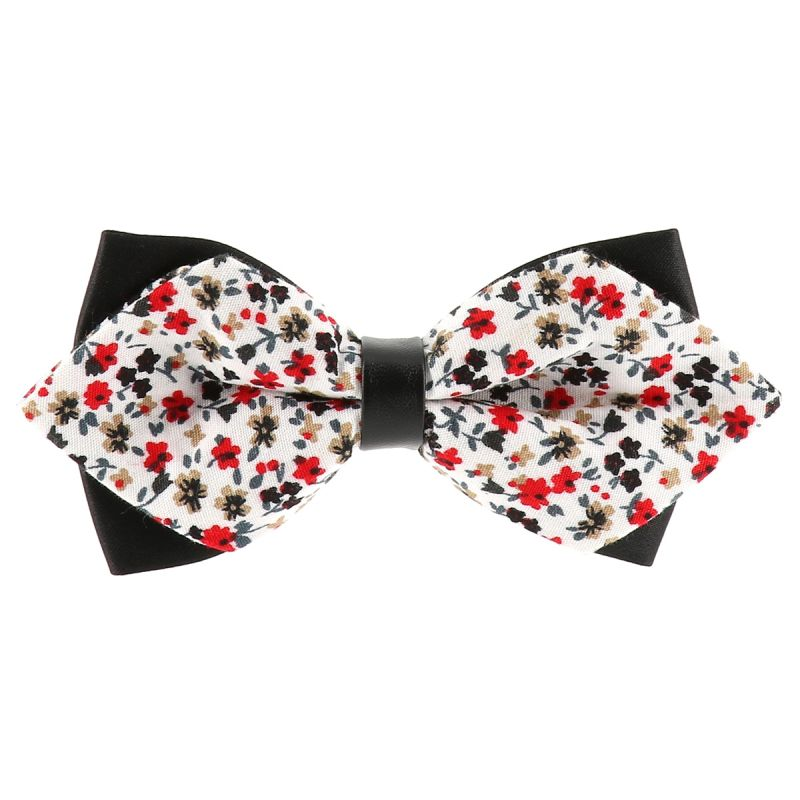 Noeud Papillon Pointu Liberty Blanc et Rouge