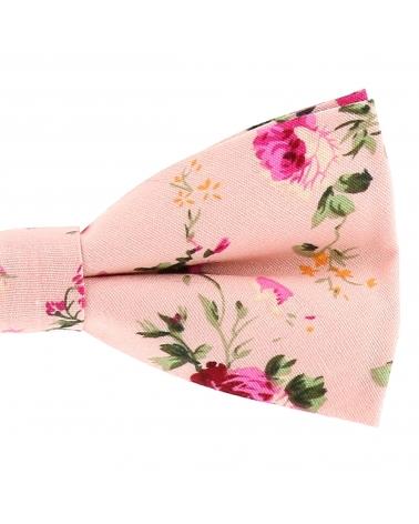 Noeud Papillon Bohème Chic Motif Fleuri Rose