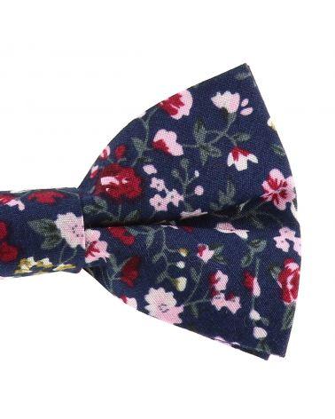 Noeud Papillon Fleuri Bohème Chic Bleu Navy Rose et Bordeaux
