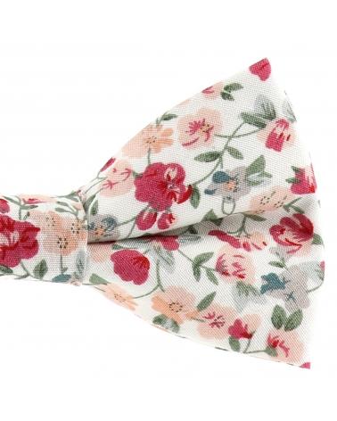 Noeud Papillon Fleuri Bohème Chic Rose et Blanc