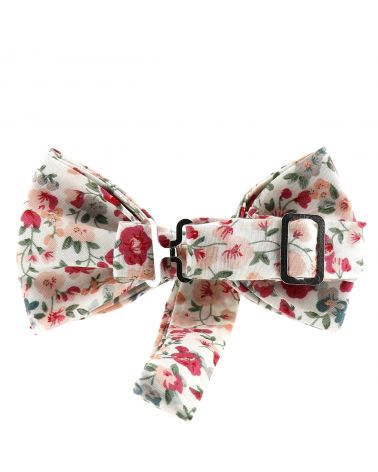 Noeud Papillon Homme Champêtre Liberty Rose et Blanc