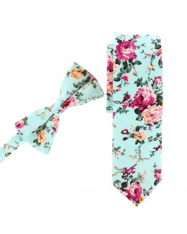Cravate Fleurie Vert d'eau