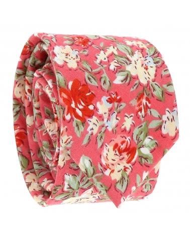 Cravate Fleurie Corail