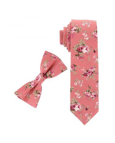 Cravate Fleurie Vieux rose