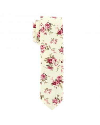 Cravate Fleurie Crème