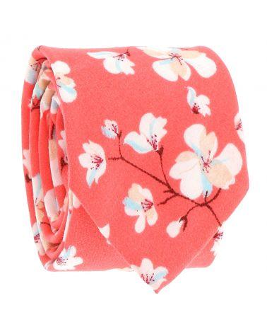 Cravate Corail Fleurs Blanches